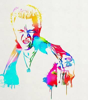 Music Mixed Media - Billy Idol Watercolor Paint by Dan Sproul