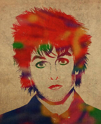 Green Day Wall Art - Mixed Media - Billy Joe Armstrong Green Day Watercolor Portrait by Design Turnpike