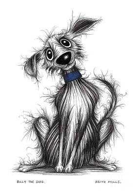 Billy Black Drawing - Billy The Dog by Keith Mills