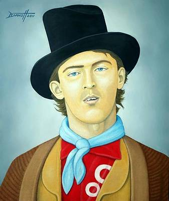Folk Art Lincoln Painting - Billy The Kid by Mark Barnett