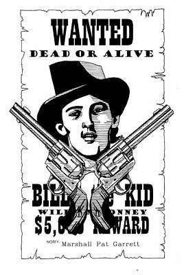 Freedom Fighter Drawing - Billy The Kid by Scarlett Royal
