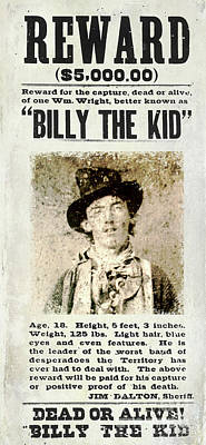 Bonnie And Clyde Photograph - Billy The Kid Wanted Poster by Jon Neidert