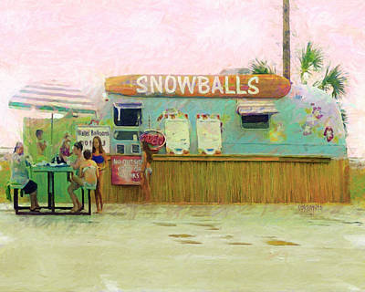 Digital Art - Biloxi Beach Snowball Stand Mississippi Gulf Coast by Rebecca Korpita