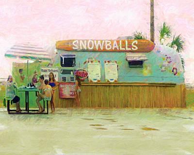 Digital Art - Biloxi Beach Snowball Stand Mississippi Gulf Coast by Rebecca Korpita