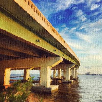 Artwork Wall Art - Photograph - Biloxi Bridge #bay #biloxi #bridge by Joan McCool