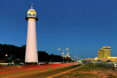 Photograph - Biloxi Lighthouse At Dusk - Mississippi - Gulf Coast by Jason Politte