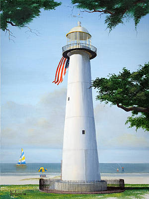 Mississippi Painting - Biloxi Lighthouse by Ron Landry