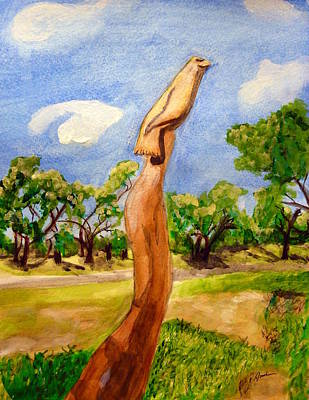Painting - Biloxi Oaktree Carving by Cathy Jourdan