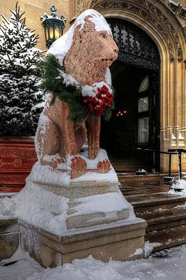 Holiday Card Photograph - Biltmore Castle Lion In Snow by Carol R Montoya