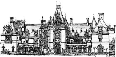 Ink Drawing Drawing - Biltmore House In Asheville  by Adendorff Design
