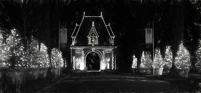 Asheville Photograph - Biltmore Lights Up The Gate House In Black And White by Carol R Montoya