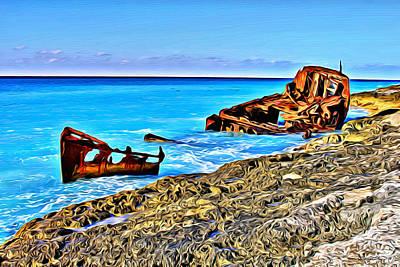 Abstract Beach Landscape Digital Art - Bimini Wreck by Anthony C Chen