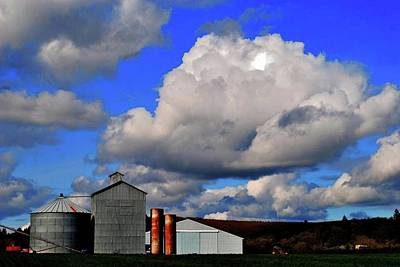 Jerry Sodorff Royalty-Free and Rights-Managed Images - Bin Shed Blue Sky by Jerry Sodorff