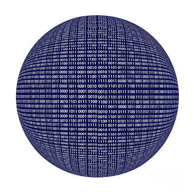 Cryptic Digital Art - Binary Code Sphere Isolated Over White Background by Dani Prints and Images