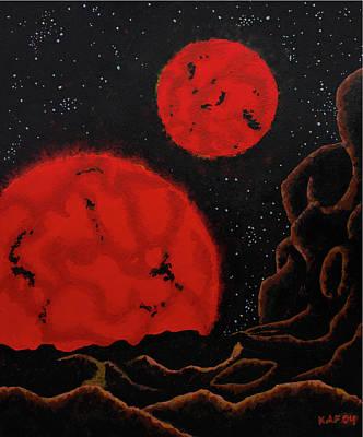 Binary Red Dwarf Stars Art Print by Kurt Kaf