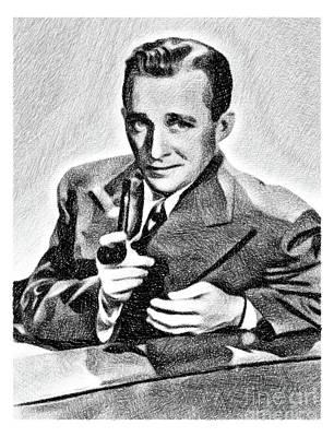 Musicians Drawings - Bing Crosby, Vintage Legend by JS by Esoterica Art Agency