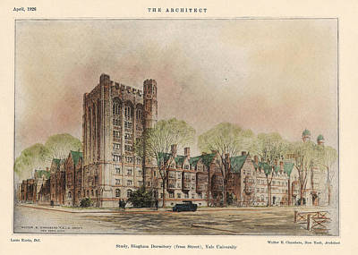 University School Painting - Bingham Dormitory. Yale University. New Haven Connecticut 1926 by Walter Chambers