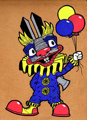 Balloons Drawing - Binky The Bunny Clown by Bizarre Bunny
