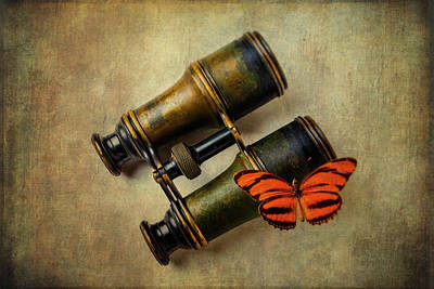 Butterfly Photograph - Binoculars And Butterfly by Garry Gay