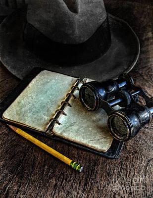 Binoculars Fedora And Notebook Art Print by Jill Battaglia