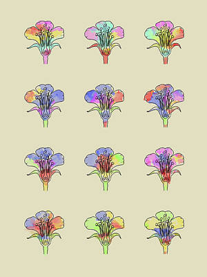 Watercolor Digital Art - Bio Pop Flower Section by Keshava Shukla