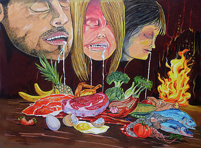 Painting - Biological Programming_ Nutritional Drives by Lazaro Hurtado