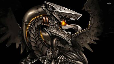 Fractal Digital Art - Bioriod Dragon by Super Lovely