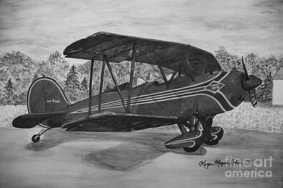 Wall Art - Painting - Biplane In Black And White by Megan Cohen