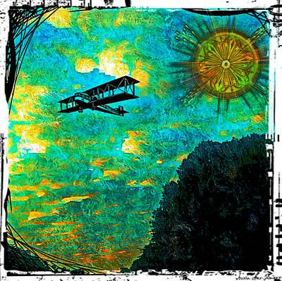 Art Print featuring the digital art Biplane by Iowan Stone-Flowers