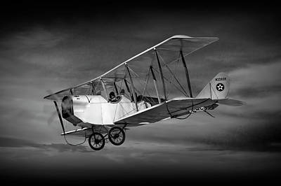 Biplane With Cloudy Sky In Black And White Art Print by Randall Nyhof