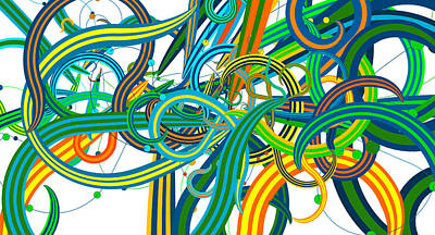 Bipolar Drawing - Bipolar Mania Rollercoaster Abstract by William Braddock