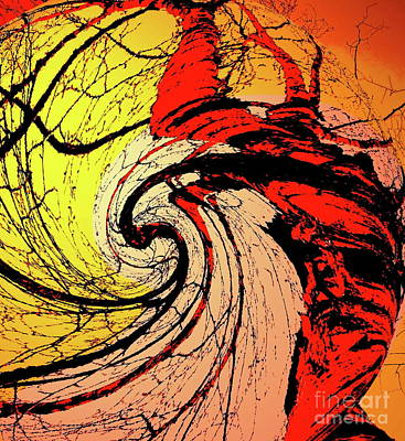 Photograph - Birch Abstract - Tangerine - Paintograph by Christine S Zipps