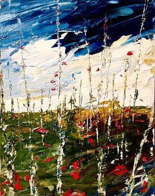 Painting - Birch And Clouds by Desmond Raymond