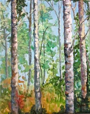 Birch Art Print by Barbara O'Toole