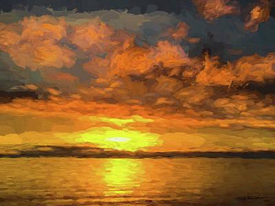 Digital Art - Birch Bay Sunset #1 by Wally Hampton