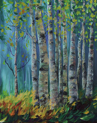 Painting - Birch Forest  by OLena Art Brand