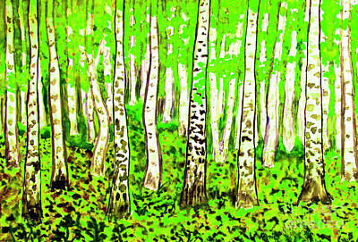 Painting -  Birch Forest, Painting by Irina Afonskaya
