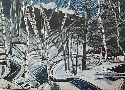 Birch Forest, Winter Art Print by Grace Keown