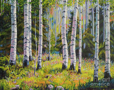 Nature Oil Painting - Birch Grove by Veikko Suikkanen
