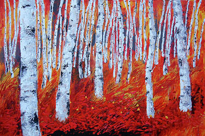 Painting - Birch In Gold by Leon Zernitsky