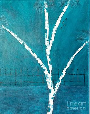 Painting - Birch In Turquoise 2 by Nancy Pace