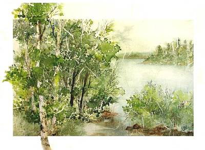 Painting - Birch Lake 1 by Pamela Lee