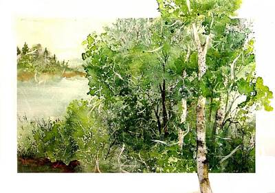 Painting - Birch Lake 2 by Pamela Lee