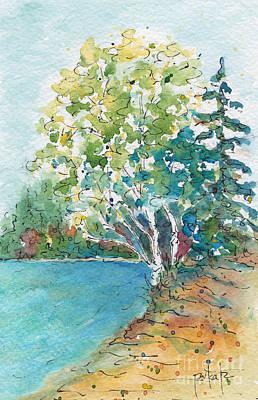 Birch On The Beach Original by Pat Katz