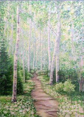 Birch Path Art Print by Inese Poga