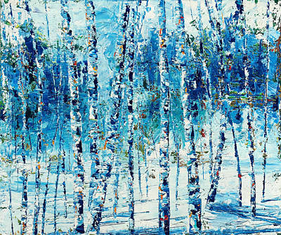 Ski Painting - Limited Edition Birch Series 1 by Julia S Powell