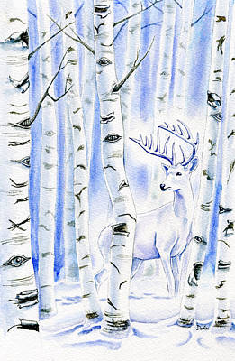 Stags Painting - Birch Spirit by Antony Galbraith