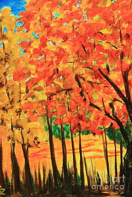 Painting - Birch Tree /autumn Leaves by Nancy Czejkowski