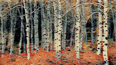 Mixed Media - Birch Tree Forest 1 by Ayasha Loya