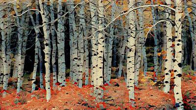 Mixed Media - Birch Tree Forest 1 by Ayasha Loya
